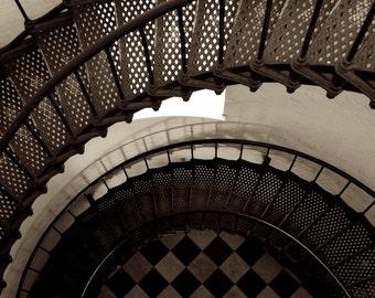 Spiral Staircase Photograph, Sepia Photography, Contemporary Wall Art
