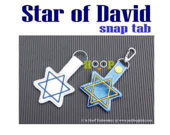 Star of David Snap Tab Applique Embroidery design 4x4 5x7 ITH In The Hoop Hanukkah Chanukah key fob