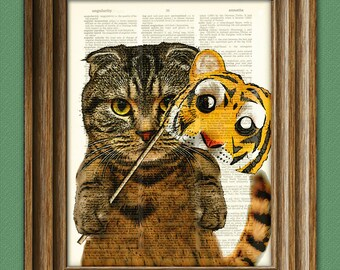 Halloween Cat with Tiger Mask Costume 'Scottie's Inner Tiger' Dictionary Page art print