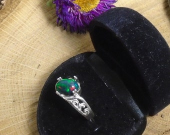 Black Ethiopian Fire Opal Ring, Sterling Silver Ring, 1.70 Carats 10.8 x 8 mm Extreme Fire  Natural AAA+++ Fire Opal