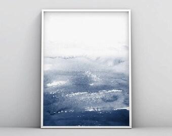 Digital Download, Large Wall Art, Abstract Wall Art, Blue Abstract Print, Minimalist Wall Art, Watercolour Art, Navy Blue, Modern Art, Decor