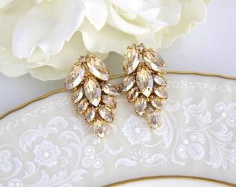 Gold Bridal earrings, Bridal jewelry, Crystal cluster earrings, Bridesmaid earrings, Gold Earrings, Statement earrings, Swarovski earrings