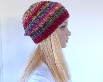 Colourful beanie Colorful Knit Hat Maroon Womens winter hat