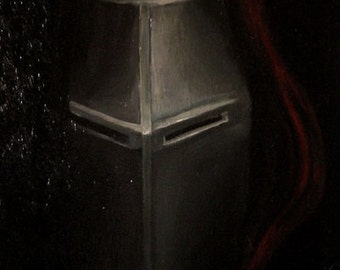 Medieval Knight painted in oil on canvas 41 x 33 cm