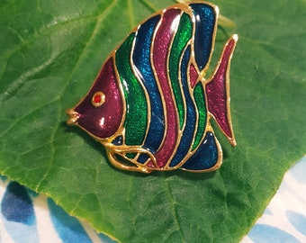 Vintage Cloisonne Tropical Fish enamel brooch lapel pin mars red marine blue vivid green stone Gift Idea for Her Hard to Find Fun to Have