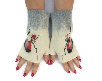 Felted white gray fingerless gloves, wool hand warmers, fingerless mittens, wrist warmers, winter fall spring gloves, gift for her