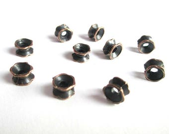 10 pearls separators flower 7 x 5 mm copper