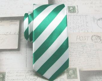 Mens Ties Green and White Stripes Skinny Necktie