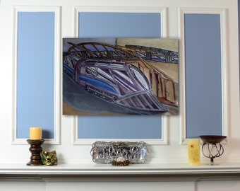 Canvas Print: Train over bridge concept drawing