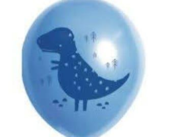Dinosaur Balloons, Dinosaur Print on Blue Balloons, Packet of 10/30cm Dinosaur Balloons, Dinosaur Party