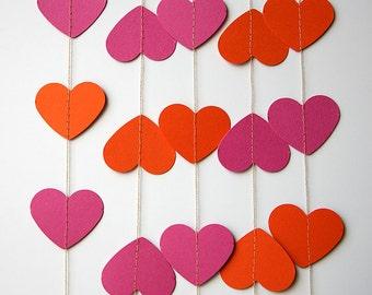 Pink orange garland, Heart garland, Valentines day decor, Heart Paper Garland, Valentines Day Decor, Valentines garland, KCO-3035