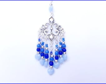 Blue Style Bohemian beads silver tone necklace