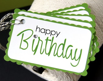 Happy Birthday Gift Tags in Clover Green (Qty. 5)