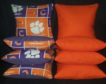 Set Of 8 Clemson Tigers Cornhole Bean Bags Top Quality FREE SHIPPING
