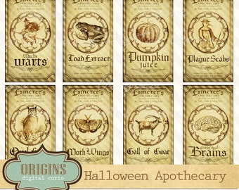 Halloween Apothecary Labels, Magic Potion Ingredient Labels, Magick Witch Brew Labels, Printable Digital Collage Sheets Instant Download