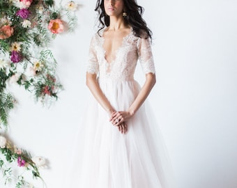 Blush wedding dress // Azalea / Tulle wedding dress, white bridal gown, open back wedding dress, deep V neck wedding dress, A line sihouette