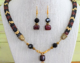 Coral Snake Bead Crochet Statement Necklace