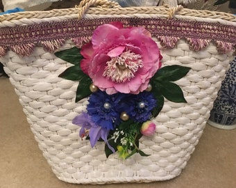 Decorated Floral Straw Bag