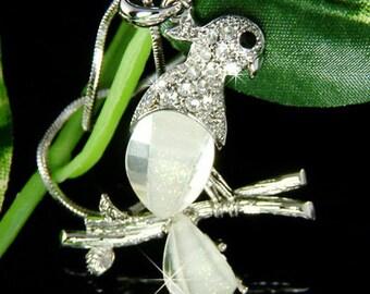 Swarovski Crystal Elegant Parrot Macaw Cockatiel psittacines Bird Charm Pendant Chain Necklace NEW Mother Best Friend Christmas Gift