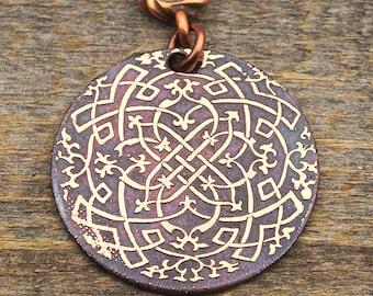 Celtic filigree pendant, round flat etched copper metal, 31mm