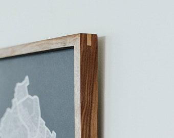 "Handmade Wood Gallery Frame. Solid Wood Frame for 18""x24"" Poster Artwork. 1.25"" Depth. Solid Walnut Oak Poplar Wood. Modern Rustic Artwork."