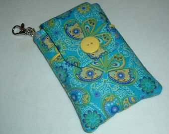 Fabric Smartphone case, Droid case, iPod touch case, iPhone 5 case, iPhone 4-4s case, iPhone Case, Blackberry, Yellow, Blue Butterfly