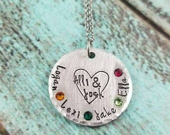 Family necklace, birthstone necklace, birthstone jewelry, family jewelry, necklace for Mom, gift for her, gift for mom, under 30, Christmas