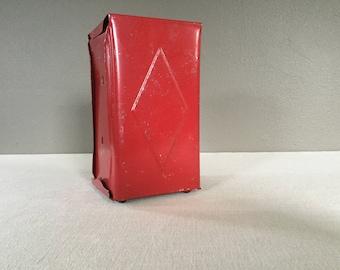 Vintage Restaurant Napkin Holder - Red Metal Napkin Holder - Napkin Dispenser - Industrial Metal Kitchen