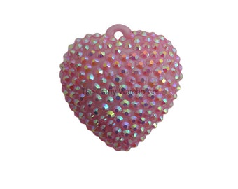 Jumbo Heart Pendant | Valentines Chunky Rhinestone Pendant | Puffy Heart Pendant | Pave Chunky Necklace Pendant | Pink Heart Pendant | 42mm
