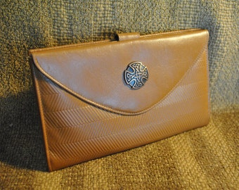 Gallery Originals Checkbook Reimagined Full-grain leather wallet with embossed chevron design motif & copper Celtic knot Cross Concho