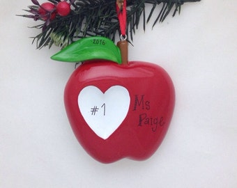 Apple Personalized Christmas Ornament / Apple and Heart / Favorite Teacher Ornament / Custom Name or Message