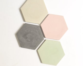Concrete Coasters (Set of 4) - Modern Home Decor - Hexagon Coasters
