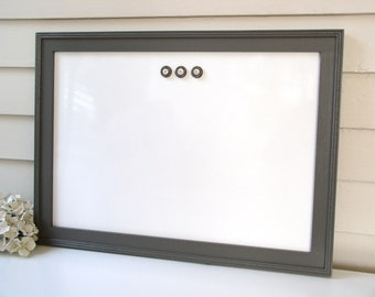 """Magnetic Dry Erase Board - 15 x 22"""" Cottage Whiteboard Bulletin Board with Handmade Frame in Charcoal Gray for Office, Kitchen, Cute Cubicle"""