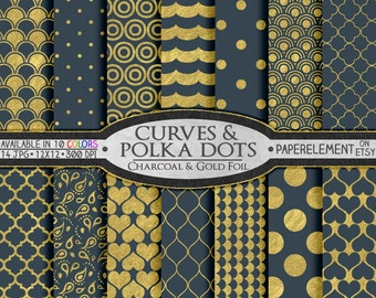Charcoal Gray and Gold Polka Dot Scrapbook Paper - Metallic Foil Gold Geometric Patterns on Gray Backgrounds: Gold and Dark Gray Graduation