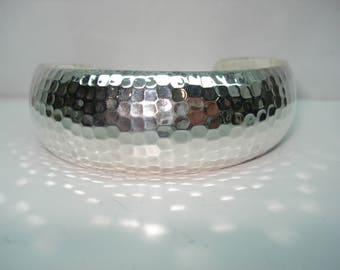 Sterling Silver Hand Pounded Cuff Bracelet Hallmarked CII