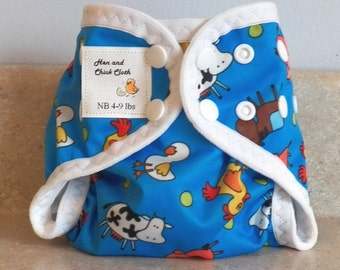 Preemie Newborn PUL Diaper Cover with Leg Gussets- 4 to 9 pounds- Blue A Doodle- 20010