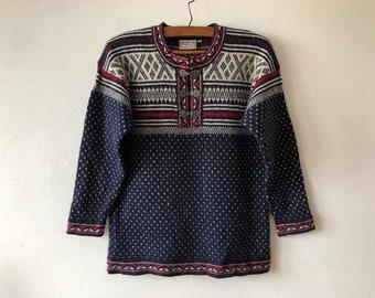 Nordic Sweater Blue Wool Norwegian Design Winter Pullover Hook Closure Classics Ugly Sweater Knitted Long Norwegian Sweater Size Medium