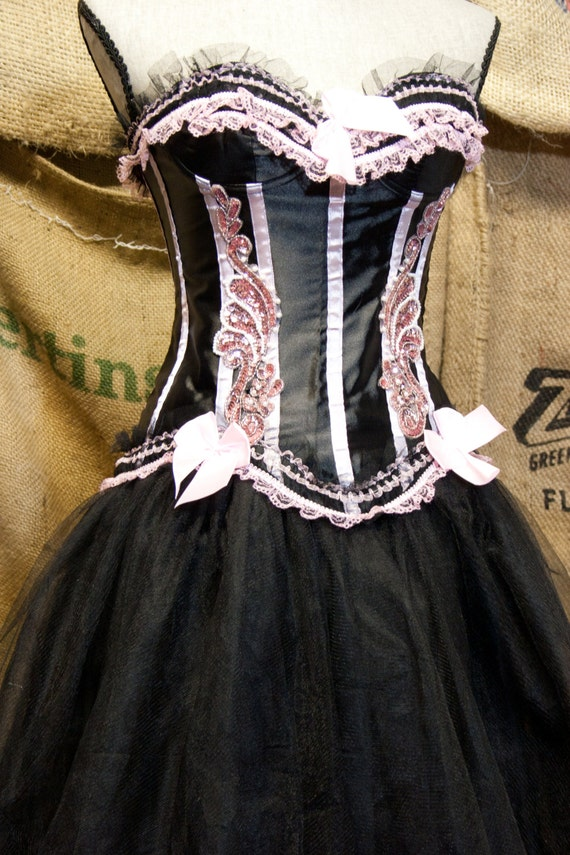 Pink & Black Burlesque costume Prom dress corset top with tulle tutu skirt