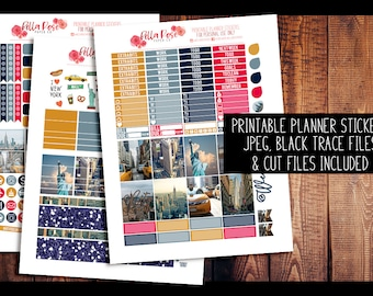 New York City Photo Kit PRINTABLE Planner Stickers | Planner Stickers, Digital, for use in Erin Condren Planners, Happy Planner Stickers