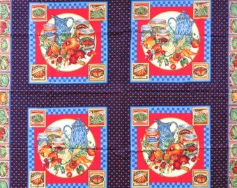 Pillow Fabric Panel, Vegetable Garden, Joan Messmore VIP Cranston, Red Blue, Country Pillow Cotton Fabric for Pillows, Quilting, Wallhanging