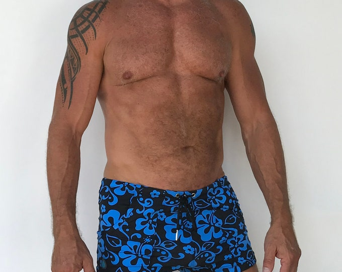 Featured listing image: Pocket Swim Short  Limited Edition Hibiscus Print Royal Blue and Black