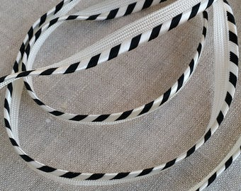 LOT OF 5 YARDS - Elegant, Chic Vintage Trim in Ivory and Black, Vintage Fashion Trim, Millinery, Cord, Piping, Trim, Satin, Black and White