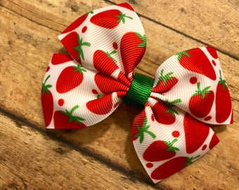 strawberry hair bow, hair bows, hair clips, girls hair bows, hair bows for girls, boutique bows, kids bows