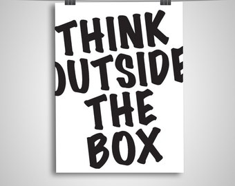 "Typography Poster ""Think Outside the Box"" Motivational Inspirational Creative Quote Happy Print Wall Art Home Decor"