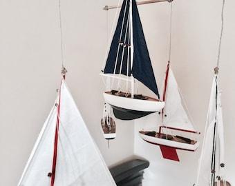 Sailboat Mobile; Wooden Nursery Mobile