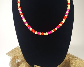 Red, pink, beige Wooden bead necklace