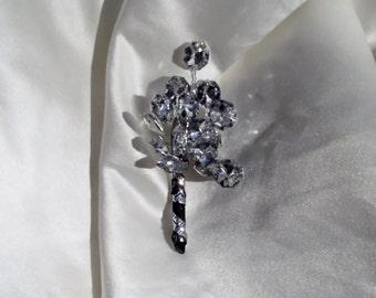 Rhinestone boutonniere, grooms boutonniere, black boutonniere, black and silver boutonniere, prom boutonniere, rhinestone buttonhole