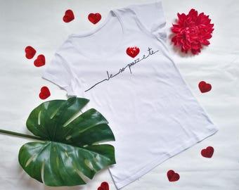 LOVE TSHIRT VALENTINES, Valentine's Day gift, personalised tshirt for women, italian quote tshirt, heart tshirt, handpainted white tshirt