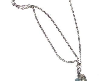 "Necklace, Blue Agate Slice Aquamarine Bead Silver Chain Pendant Necklace, 22"" Artisan Designed & Handcrafted 