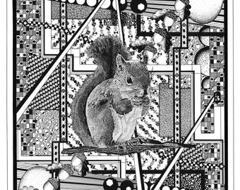 """Squirrel Acorns Graphics 18""""x24"""" Hand drawn Black and White Pen and Ink print"""